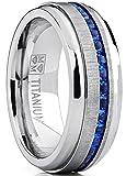 Ultimate Metals Co. Herren Titan Ehering Mit Blau Saphir Zirkonia, Bequemlichkeit Passen Größe 56