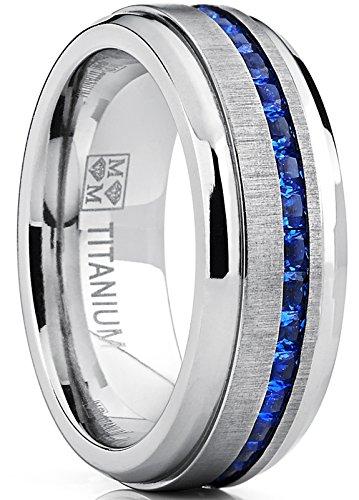 Ultimate Metals Co. LetsBuySilver - Fede Nuziale da Uomo in Titanio con zirconi Blu Zaffiro e Titanio, 56 (17.8), cod. TIR-124375