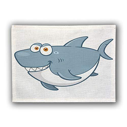 GFF Cute Cartoon Fisch Baumwolle und Leinen Tischset Schüssel Pad Isoliermatte Kinder 's westlichen Essen Matte 2 Stück -