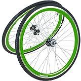 viking 28 Zoll 700C Laufradsatz mit Reifen Vorne + Hinten Fixie Singlespeed Hochflansch Fixed Gear Wheel, Farbe Vorderrad:Grün, Farbe Hinterrad:Grün