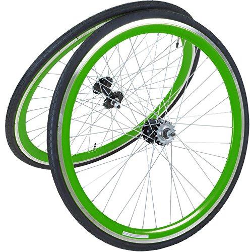 viking 28 Zoll 700C Laufradsatz mit Reifen Vorne + Hinten Fixie Singlespeed Hochflansch Fixed Gear Wheel, Farbe Vorderrad:Grün, Farbe Hinterrad:Grün -
