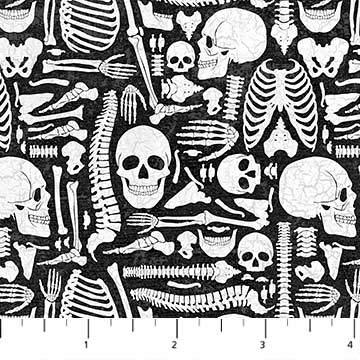 Northcott Stoffe, Halloween, 0,5 m, 100% Baumwolle Schwarz -