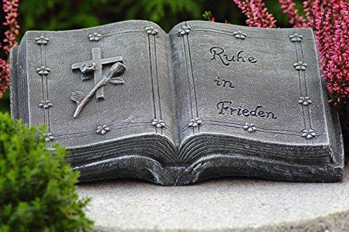 Grabschmuck Steinguss Buch Inschrift: Ruhe in Frieden Basaltgrau