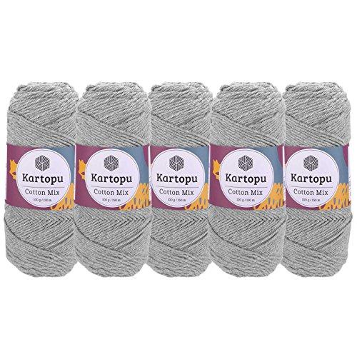 maDDma  5 x 100g Strickgarn Kartopu Cotton Mix Strickwolle Häkelgarn Sommergarn Farbwahl, Farbe:2101S hellgrau