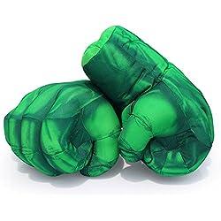 Guizen Superhero guantes de boxeo de felpa Cosplay traje manos de juguete suave para Navidad de cumpleaños Regalo de Halloween-Hulk Smash manos (1 par)