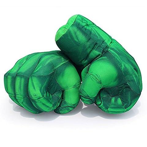 Guizen Superheld Plüsch Boxhandschuhe Cosplay Kostüm Weiche Spielzeug Hände für Geburtstag Weihnachten Halloween Geschenk-Hulk Smash Hands (1 Paar)