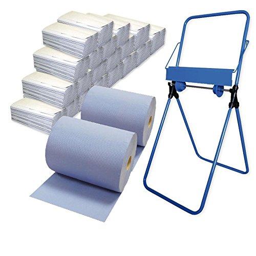 2x Putzrollen-Set Komfort (3-lagig, blau) inkl. Halterung Bodenständer, 20x Papiertücher á 150...