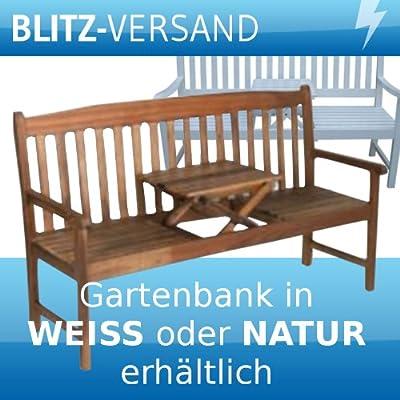 Gartenbank PALU mit Tisch natur geölt - weiss lackiert Akazie Holzbank Sitzbank