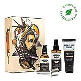 Rasur-Set: Sonderedition Shaving Box ✔ bestehend aus Rasieröl, Rasierhobel, Aftershave Spray und Aftershave Balsam ✔ Naturkosmetik der BROOKLYN SOAP COMPANY ® ✔ Geschenkidee für Männer zu Weihnachten