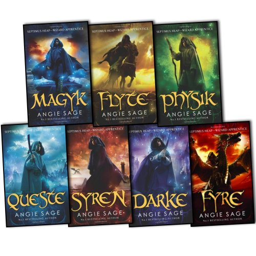 Portada del libro Angie Sage Septimus Heap 7 Books Collection Set RRP: £54.93 (Darke, Syren, Queste, Physik, Flyte, Magyk, Fyre)