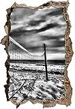 Stil.Zeit Monocrome, Rete da pallavolo sulla Spiaggiasvolta a Muro in Look 3D, Parete o Formato Adesivo Porta: 92x62cm, autoadesivi della Parete, Autoadesivo della Parete, Decorazione della Par