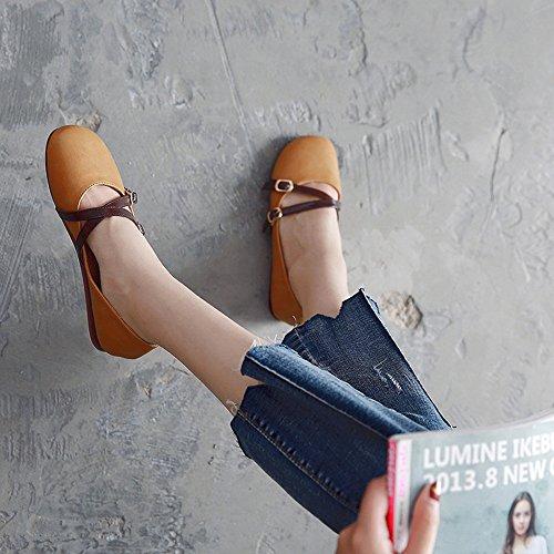 Haizhen Botines Señora Zapatos Pu Verano Caída Comodidad Pisos Tacón Plano Punta Redonda Para Oficina Informal Y Carrera De 18-40 Años (color: Beige, Dimensiones: Eu39 / Uk6.5 / Cn40) Amarillo