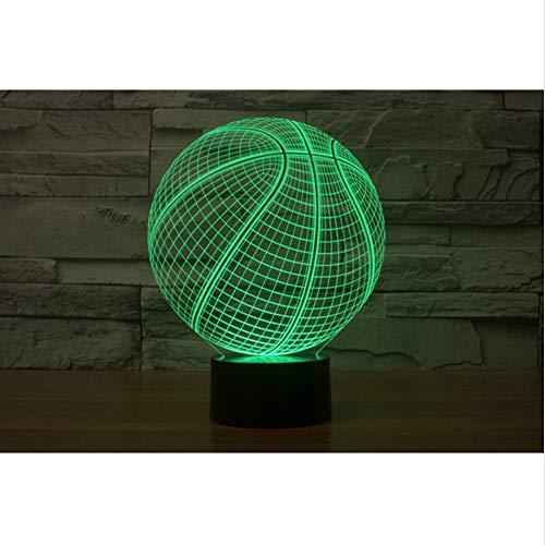 Shuyinju Usb 3D Led Nachtlicht 7 Farbwechsel Nachtlicht Touch Sensor Atmosphäre Tischlampe Nachttisch Illusion Projektor Basketball Team