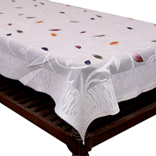 Kuber Industries Floral Center Table Cover - White, 4 Seater