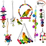 ESRISE Bird Parrot Toys, Hanging Bell Pet Bird Cage Hammock Swing Climbing Ladders Toy Wooden Perch Mirror Chewing Toy for Small Conures, Love Birds, Small Parakeets Cockatiels, Macaws (Muliti-N8)