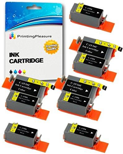 9 Compatibles Canon BCI-15/16 Cartouches d'encre pour Pixma IP90 i70 i80 Selphy DS700 DS810 MINI220 - Noir/Couleur, Grande Capacité