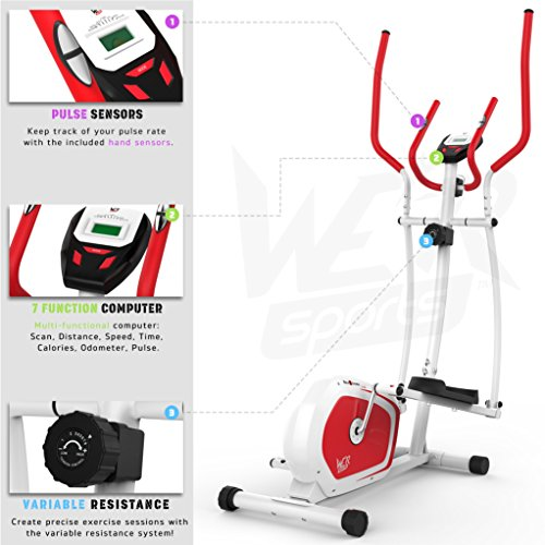 We R Sports Elliptisch ?berqueren Trainer & ?bung Fahrrad 2-in-1 Zuhause Cardio- Training (Red) - 5