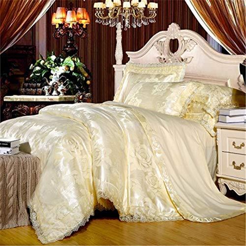 JSHECOVER Weiß Silber Kaffee Jacquard Bettwäsche Set Königin Kingsize-Bett-Set 4tlg Baumwolle Seide Spitze Bettbezug ausgestattet Bed 21 King Size 4pcs Fitted Sheet Stye