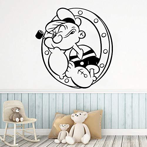 YuanMinglu Cartoon Popeye Sticker Wand Art Deco Dekor Wohnzimmer Schlafzimmer Wasserdicht Schwarz L 43cm X 44cm -