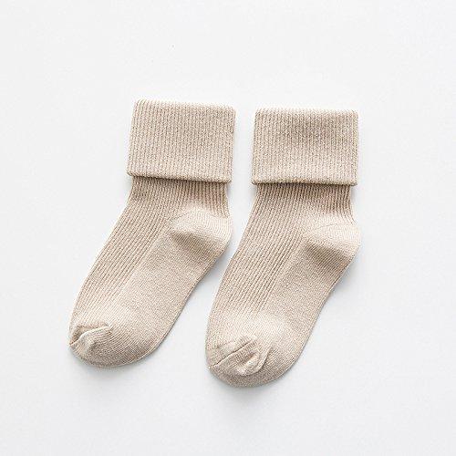 XIU*RONG Kinder Socken Kinder Verdoppeln Nadel Socken, 8 Khaki, Ca. 7-10 Jahre Alt (10 Paare)