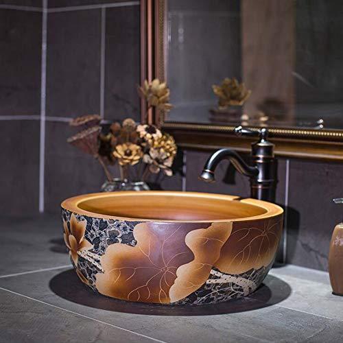 MICOKY Aufsatzbecken Retro-Waschbecken Keramik über Gegenbecken Kunstbecken runde Schüssel Waschbecken ohne Wasserhahn 41 * 41 * 15