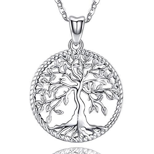 7 - Friggem Collar de Plata para Mujer con Caja de Regalo, Joya Colgante de Plata de áRbol de La Vida - CumpleañOs y Mejor Amiga