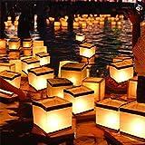 EgBert Wasser Schwimmende Kerzenhalter Wasserdicht Quadratische Kerzenhalter-Laterne Wünschen Leichten Kerzenständer - S
