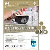 SKULLPAPER Wasserschiebefolie, hauchdünn A4 DIY Decalpapier Abziehbild/Nassschiebefolie für Keramik, Glas, Holz, Kerzen, Metall, Kunststoff, Modellbau - 8 Blatt (WEISS)