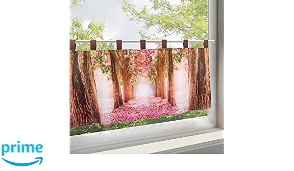 Polyester 45x120 cm Kamaca Magical Bistro Curtain with Delicate Voile with Trendy Photo Print Lavendel 45x120 Cm