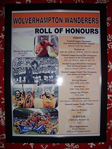 Sports Prints UK Wolverhampton Wanderers Club Geschichte Rolle von Ehrungen-Kunstdruck, gerahmt -