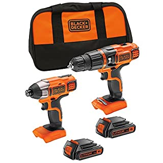 BLACK+DECKER 18 V Lithium-Ion Hammer Drill and 18 V Impact Driver with Storage Bag and 2 Batteries,BDCHIM18B-GB