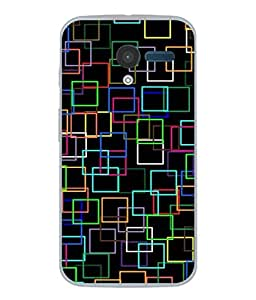 PrintVisa Designer Back Case Cover for Motorola Moto X :: Motorola Moto X (1st Gen) XT1052 XT1058 XT1053 XT1056 XT1060 XT1055 (Box Colourful Square Purple Blue)