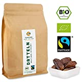 1000g Bio Fairtrade Datteln: Deglet Nour | Natürliche Qualität | Getrocknet & Entsteint aus Kooperative in Tunesien | Fair gehandelt | Ungeschwefelt und Ungezuckert