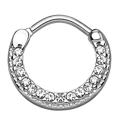 Piercingfaktor Universal Piercing Septum Ring Clicker Schild gebogen mit Kristallen Lippen Nasen Lippe Ohr Tragus Helix Intim Augenbraue Horseshoe Silber