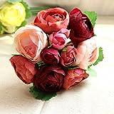 Inovey Künstliche Seide Blume Pfingstrose Bouquet 9 Köpfe Blumen Home Cafe Dekoration Hochzeit Braut Party Decor