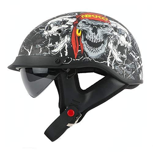 You will think of me Sie werden an mich denken Helm Helm Half Helm Motocross mit interner Sonnenbrille Beliebte Harley Style Motorrad Chopper Bike Retro Helm Dot, 44, Xl