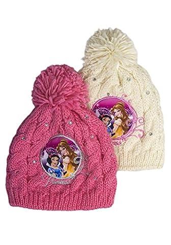 Official Girls Disney Princess Beanie Bobble DiamanteHat Snow White Sleeping Beauty Age 2-9