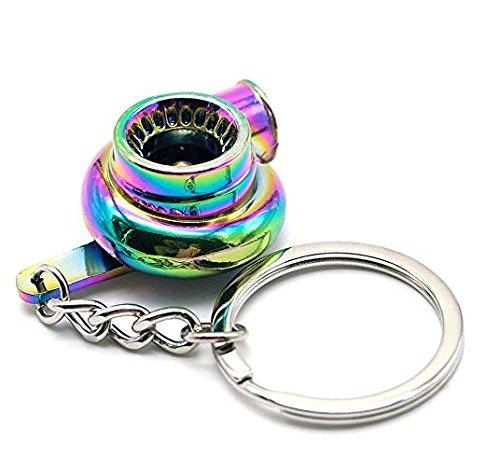 ür Auto-Fans mit Regenbogen-kreativem spinnendem Turbo-Turbolader-Schlüsselring ()