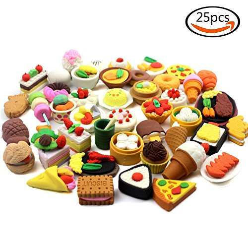 25 Stück Radiergummi - gemischt -Rubber Eraser 25 pieces - Food Mixed diffrend for kids christmas...