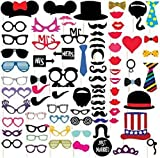 #9: Kala Decorators Combo Set of 76 Multicolor Party Props,Photo Booth Props for Wedding,Party,Birthday,Bachelorette Photo Booth Board (Birthday, Wedding, Party, Bachelorette)