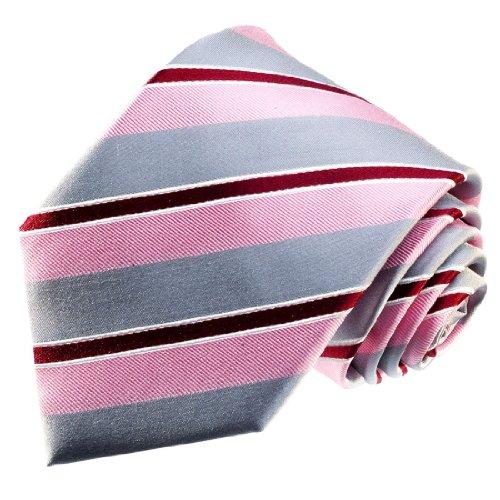 LORENZO CANA - Hochwertige Marken Krawatte aus 100% Seide silber grau beere rose gestreift - 84318