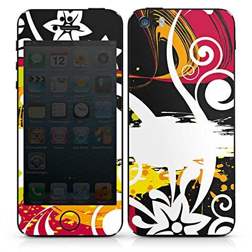 Apple iPhone SE Case Skin Sticker aus Vinyl-Folie Aufkleber Schnörkel Bunt Blumen DesignSkins® glänzend