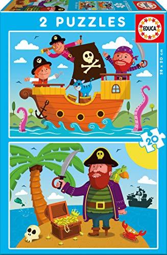 Educa Borrás - Piratas, 2 Puzzles de 20 Piezas (17149)