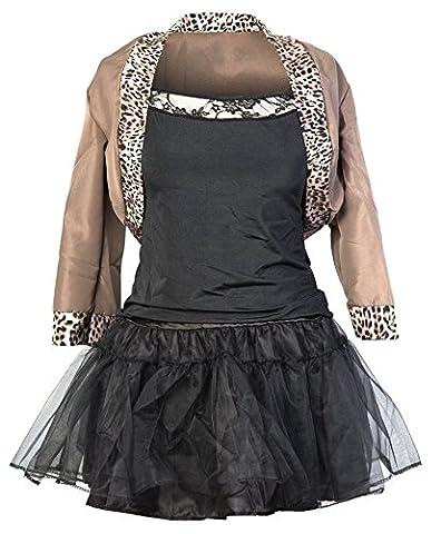 80er Pop Star Schickes Kleid Kostüm von Emma's Wardrobe – Beinhaltet Jackett, schwarzes Top, schwarzen Rock, Haarband und Handschuhe – Madonna Kostüm oder 80er Frauen Kostüm für Halloween und Retro Events – EU Größen