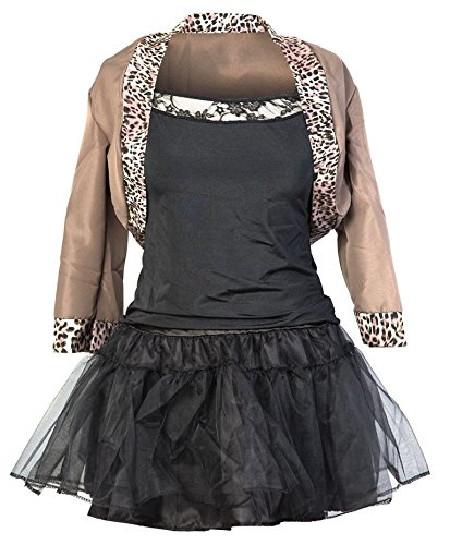 80er Pop Star Schickes Kleid Kostüm - Beinhaltet Jackett, schwarzes Top, schwarzen Rock, Haarband und Handschuhe - Madonna Kostüm oder 80er Frauen Kostüm - EU Größen (Madonna Kostüme)