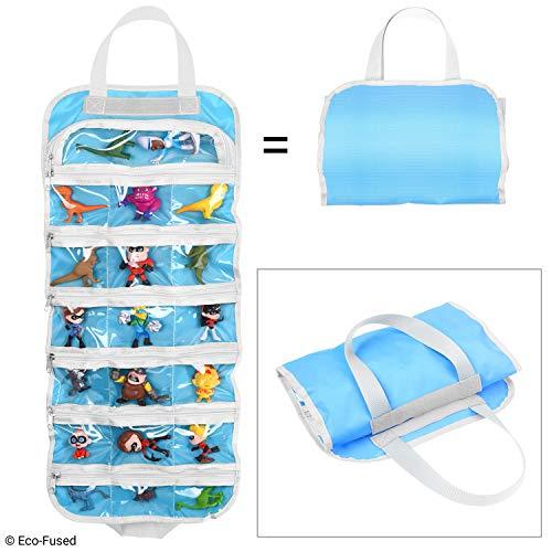 Bolsa de Almacenamiento de Organizador de Juguete Plegable para niñas – Ideal para Juguetes, Accesorios y coleccionables, como: Barbie, Disney, LOL, Shopkins (Azul)