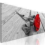 murando Bilder nachtleuchtend 120x40 cm Tag & Nacht Wandbilder 3D nachtleuchtende Farben Kunstdruck Vlies Leinwand XXL Fertig Aufgespannt Blumen Rose rot grau b-B-0026-ag-a