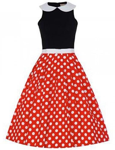 PU&PU Robe Aux femmes Swing Vintage , Couleur Pleine / Points Polka Col Ras du Cou Mi-long Coton black-s