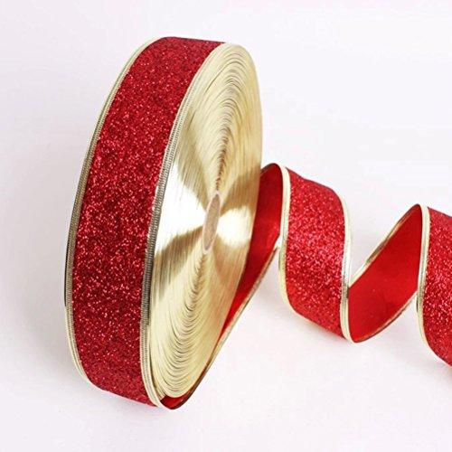 Tinksky Glitter nastro Nastri decorativi decorazioni albero di Natale / matrimonio / partito Decor - 1 pezzo