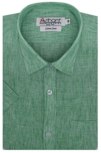 Arihant Men's Self Print Half Sleeves Regular fit Super fine cotton Linen Formal Shirt(AR739817_Light Green_Size::42)